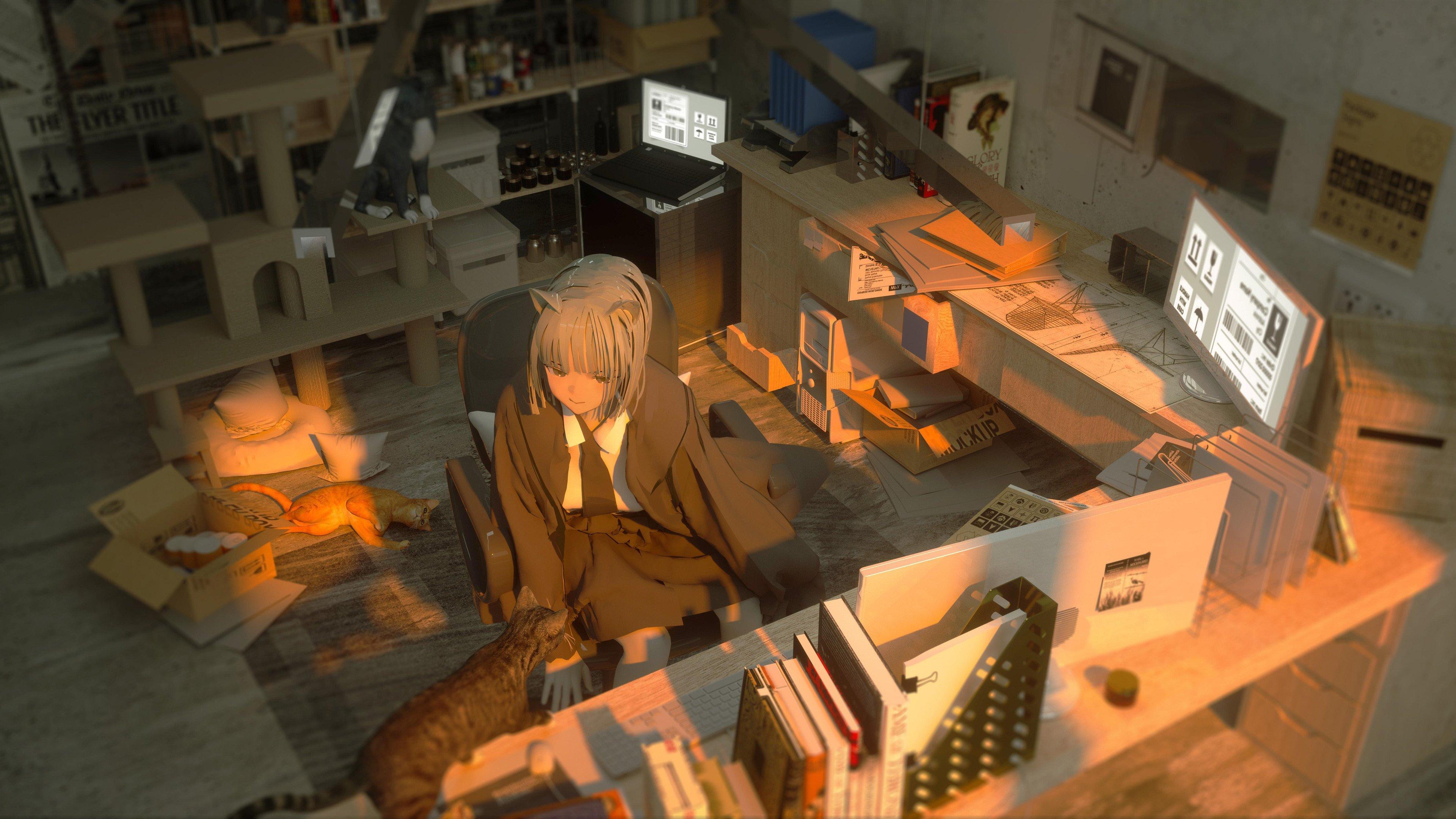 电脑工作室 女孩猫耳朵 狸猫 高清动漫壁纸,高清动漫电脑壁纸插图