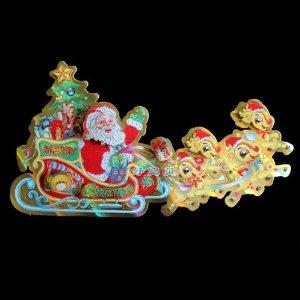 好宝贝 圣诞装饰墙贴 鹿拉车圣诞贴画 圣诞节玻