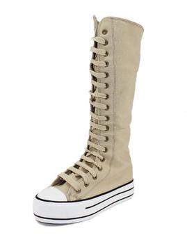女款帆布面料 长筒长靴子