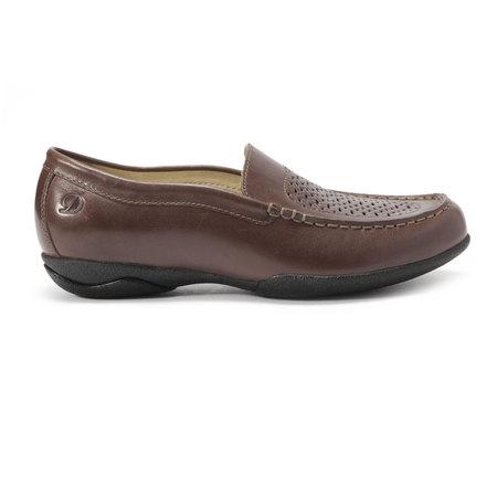 dupont棕色牛皮鞋面穿孔女士平底休闲鞋