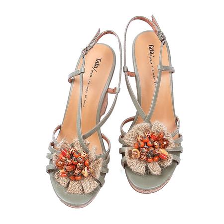 tata/他她2012夏季浅绿油蜡羊皮女皮凉鞋