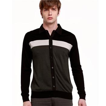 男士宽条纹拼接衬衫领薄款针织毛衣