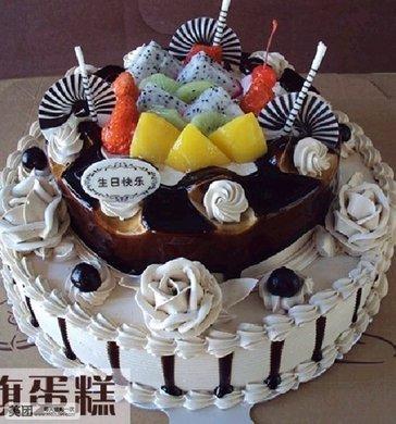 14+12寸双层欧式水果蛋糕1个