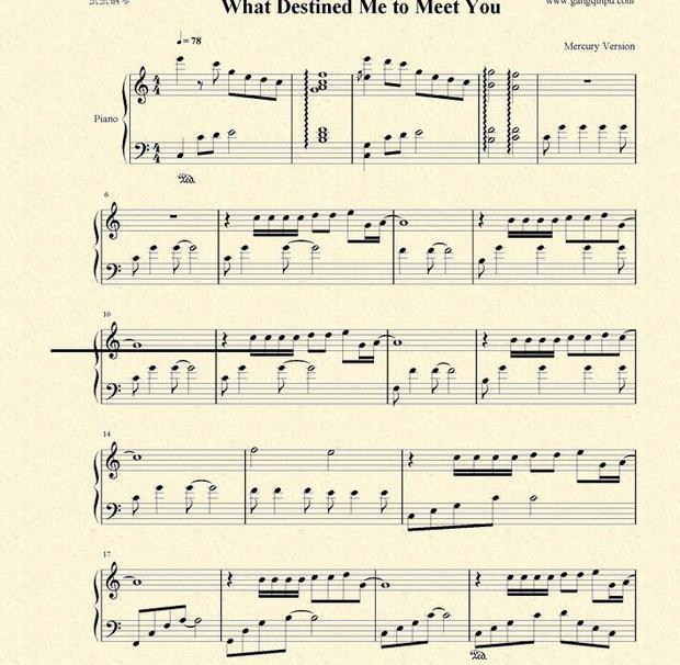 我要你钢琴曲五线谱-遇见这样的你 钢琴谱