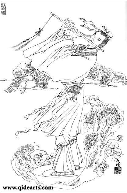 据说,韩湘子这支神萧还是东海龙王的七公主送他的哩!