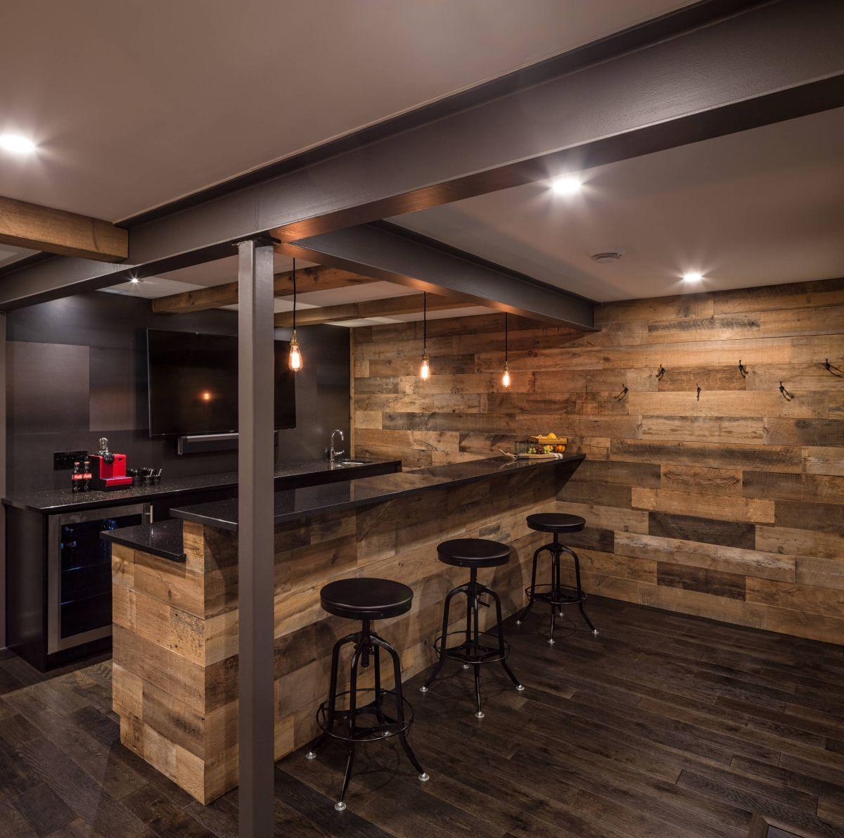 别墅地下室吧台设计欧式效果图-润柏家