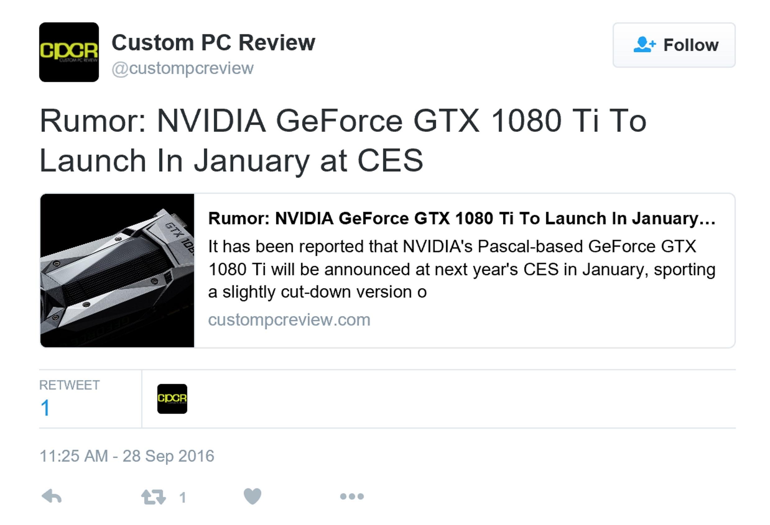 GTX 1080 Ti或2017年初发布