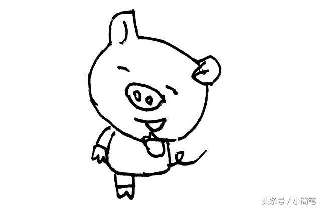 儿童简笔画 两只超萌的小猪猪