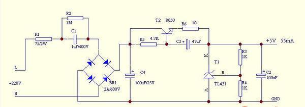 这里提供3款不用变压器的5伏稳压电路: 1,电容降压的5v直流稳压电源