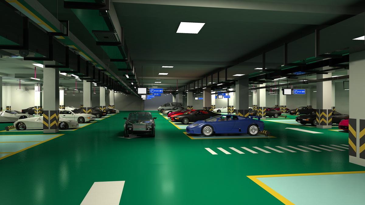 地下停车场里