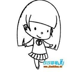 卡通图片可爱女孩简笔画怎么画