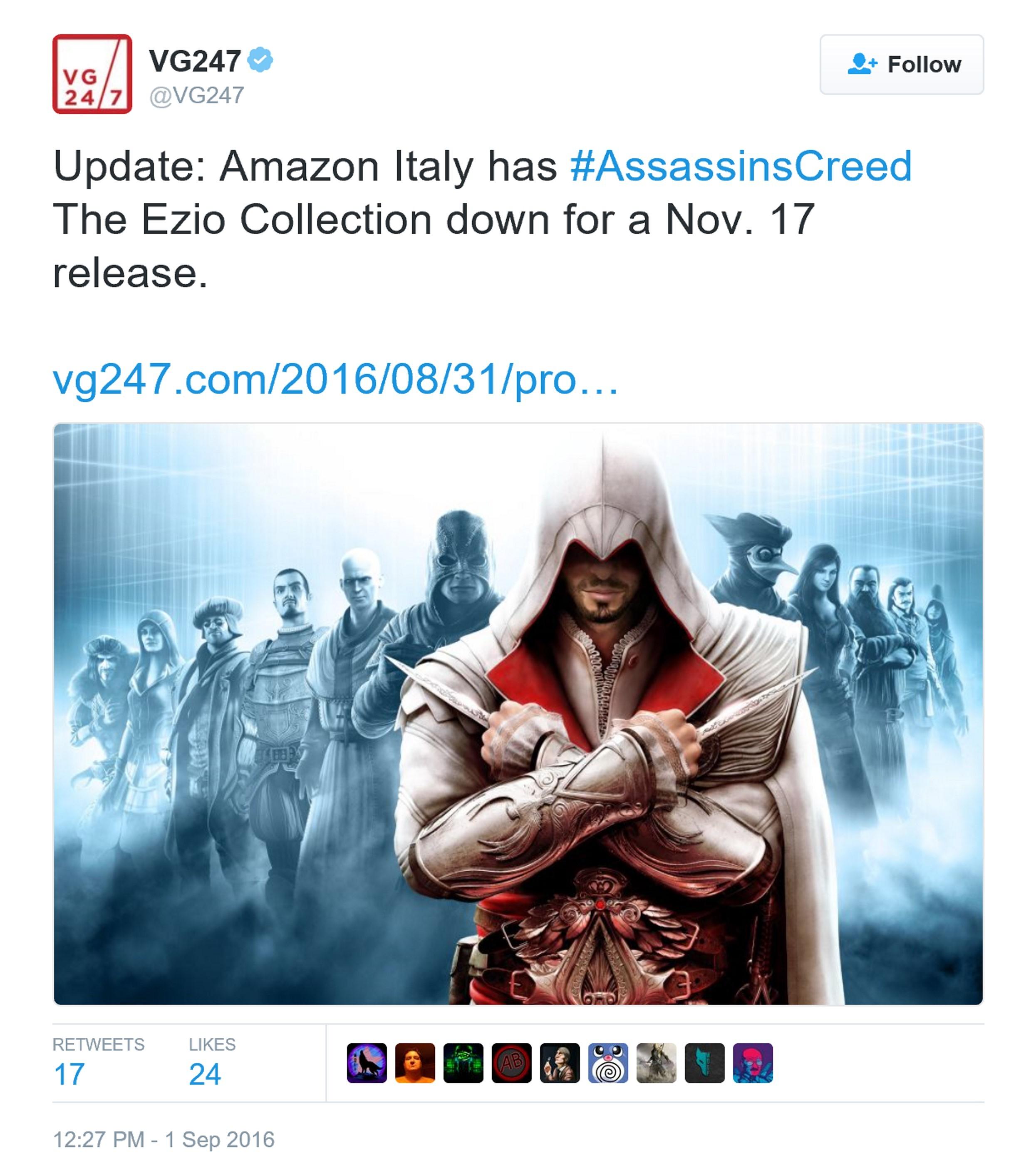 《刺客信条:Ezio合集》11月发售