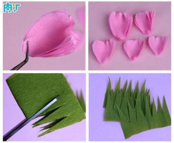 手工皱纹纸花的做法