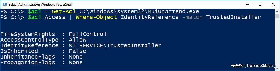 File ACL in PowerShell Showing Full TrustedInstaller name.