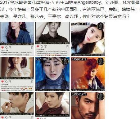热巴,鹿晗,吴亦凡,宋茜等明星入选2017全球最美面孔