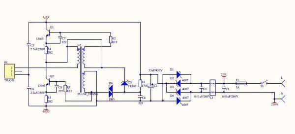 依靠p1接口接的电感和电容组以及灯丝组成rlc串联振荡,形成大电流加热