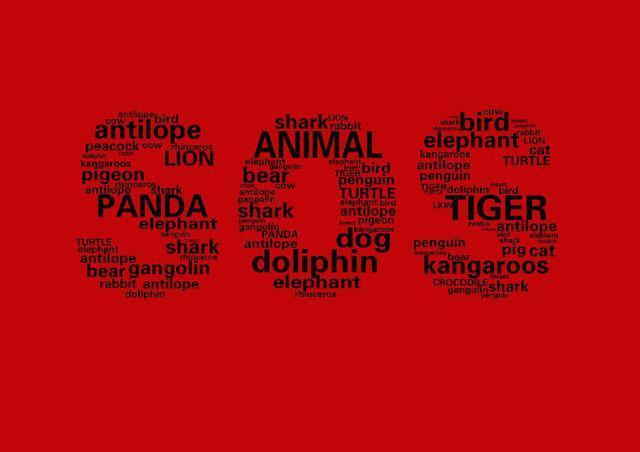 通过动物的英文单词构成sos的形状,搭配以红色色彩冲击力强