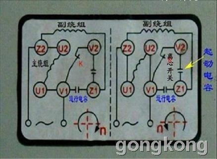 单相电容启动电机的接线图