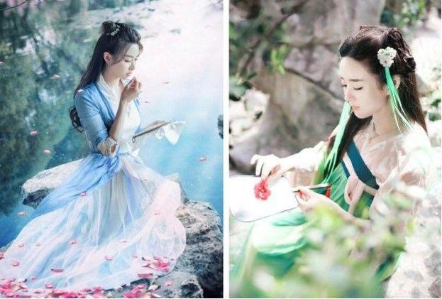 而赵丽颖在扇上刺绣,绿色的古装显得纯洁可爱.