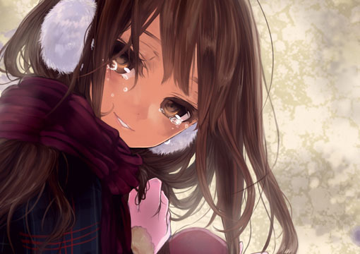 动漫女孩流泪的图片