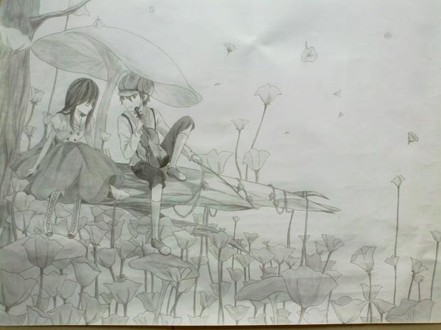 素描动漫人物图片   动漫人物素描图片图片   铅笔画素描动漫