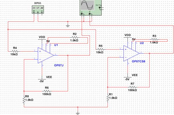 用op07做的简单的放大电路,为什么op07j和op07c的结果不一样呢,求大神
