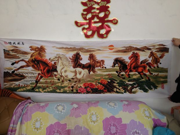 八骏马十字绣绣好的能卖多少钱