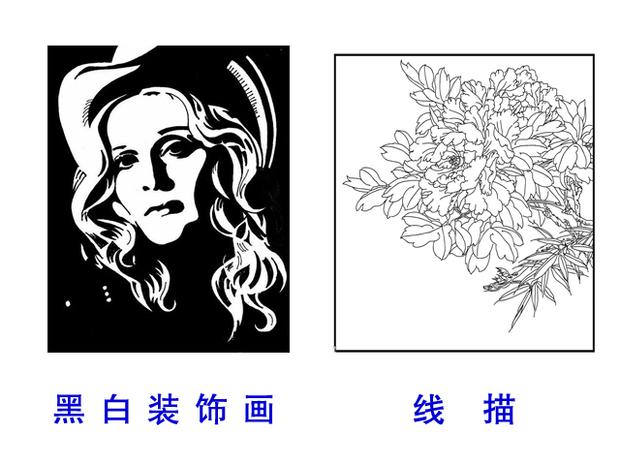 花卉变形黑白装饰画 图案基础