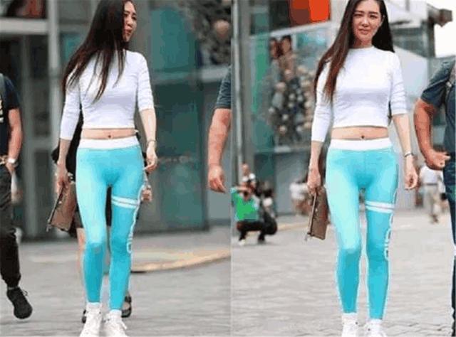 美女周末穿瑜伽裤上街, 裤子成了全街亮点, 路人的回头率百分百!
