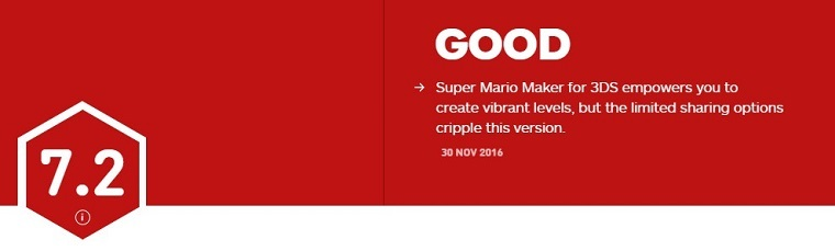 《3DS超级马里奥制造》IGN评分