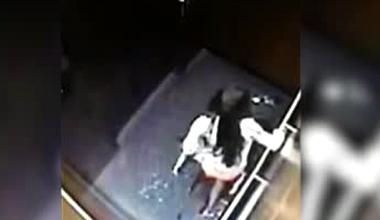 美女电梯内小便遭监控拍下全过程