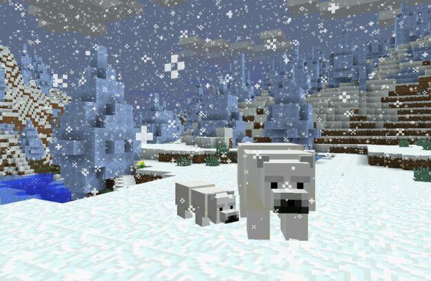 成年北极熊和幼年北极熊