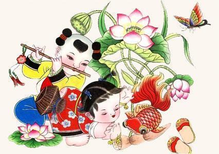 稚拙的娃娃,美艳的仕女,和蔼的神像,慈祥的寿星,可爱的动物,吉祥的莲