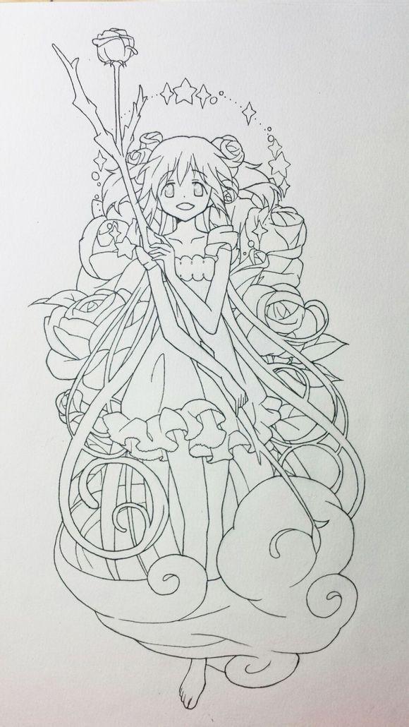 求魔法少女小圆 的各种线稿图