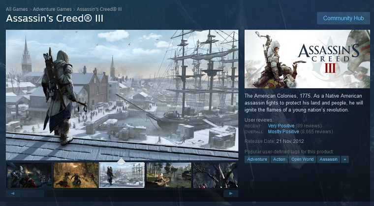 《刺客信条3》Steam商城页面