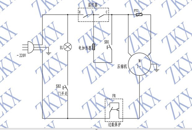 简易电冰箱电路中ptc的工作原理
