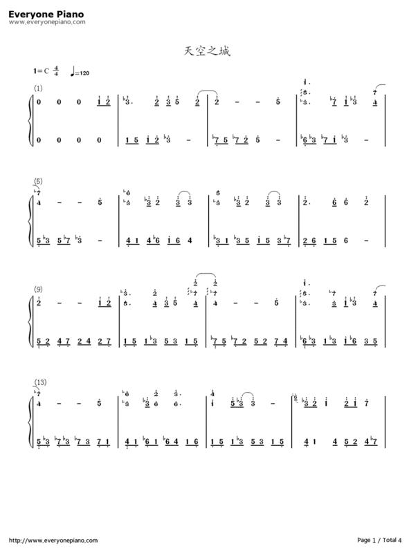 跪求《天空之城》的钢琴曲谱,带指法的,最好是简谱.