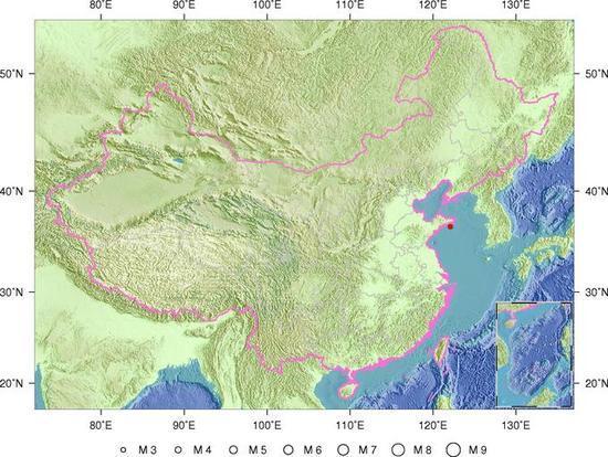 山东威海市附近海域发生3.4级地震 震源深度7千米