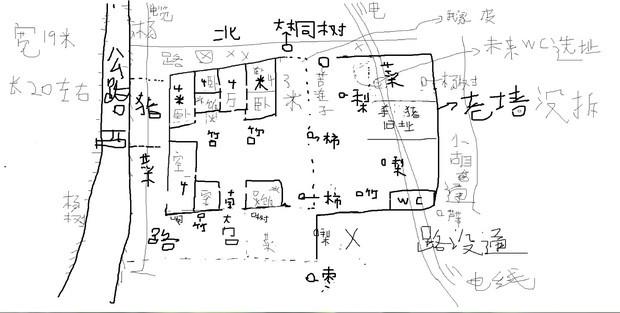 【我是河南农村的,住房2层楼,】大铁门口,南方。后墙北方。   虚线以外的,在法律上不是我家的地皮。虚线处没墙。我主要是想让师傅,给我看下,我家院子中心点【2米左右各一颗竹子】。还有我家大门口,右边一颗竹子,【还有一颗不知道什么名字的树】右边也有一颗不知道名字的树。左右两边适合种树吗?我想把大门口,又边的竹子种在老墙东南角。大门口左右两边的树,拔下来。;还有我家的柿子树,梨树。和门前小路对面的枣树相克吗?请打是帮我看看,我家的植物该怎么种植呢,就是竹子种在哪里合适。柿子树,和梨树要不要拔掉。本来芦苇是种