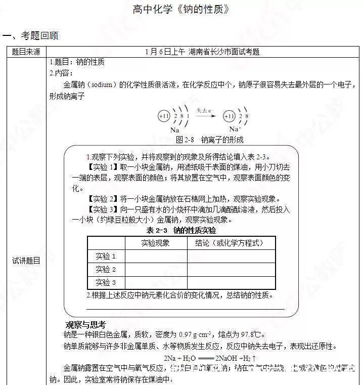 高中化学教师资格证面试真题精选