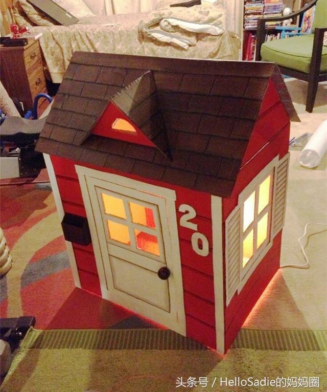 大纸箱子别扔,让老爸给孩子做房子,亲子手工实操教程