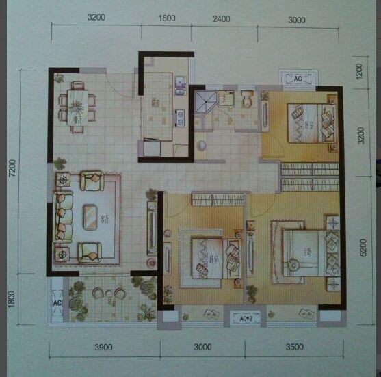 80平方2房房屋设计图展示图片