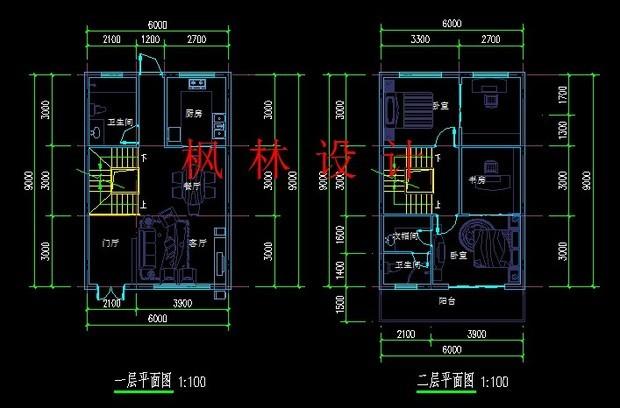 农村自建房设计图长10米,宽6米起两层 客厅,,卧室,洗手间,楼梯高清图片