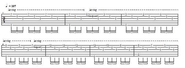 左手只按一弦7品,5品,3品,2品和空弦,具体的可以按琴谱练图片