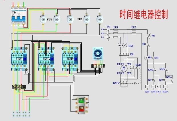 以上是、时间继电器控制、星三角、降压启动,实际接线图、原理图-