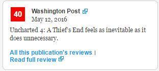 粉丝要求网站撤掉《华盛顿邮报》对《神秘海域4》差评