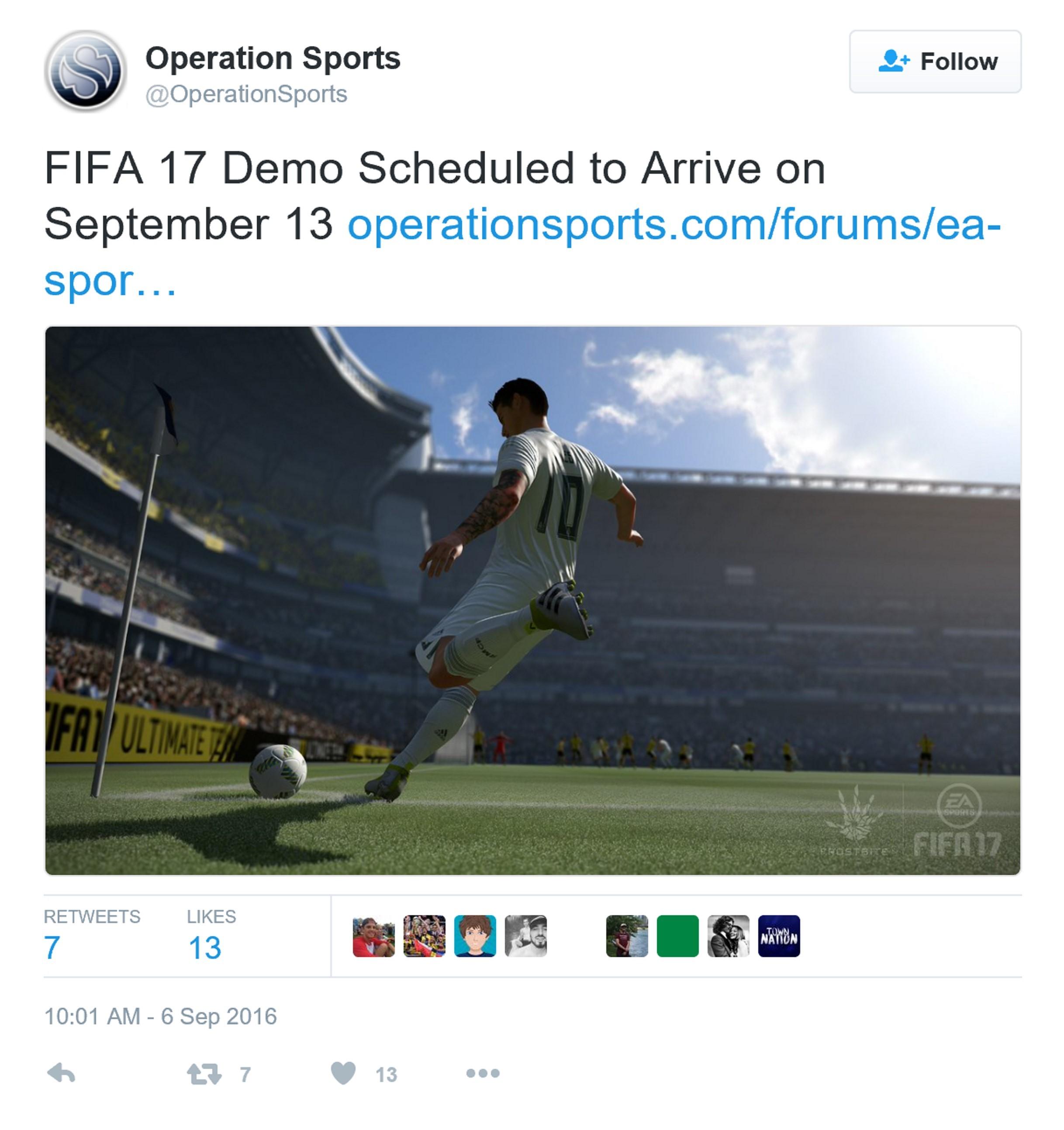 《FIFA 17》Demo版发行