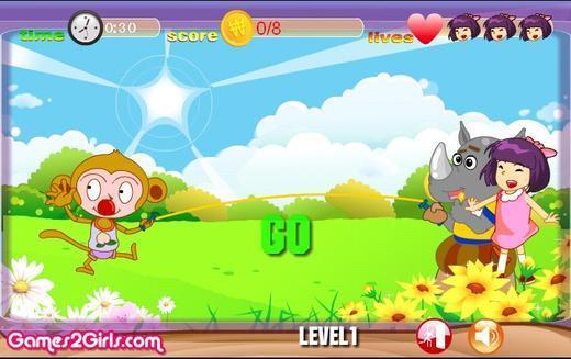 小游戏 >可爱女生跳绳  可爱的小女孩和一群动物们一起玩跳绳.