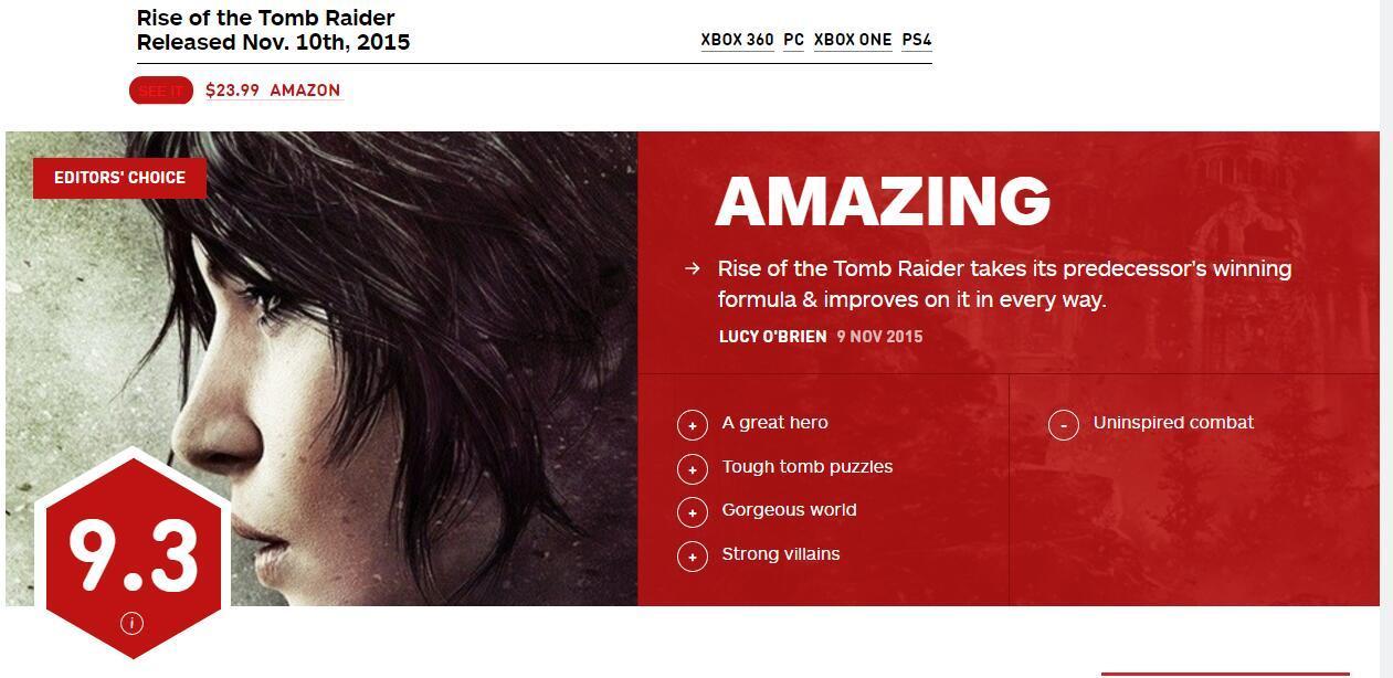 《古墓丽影:崛起》PS4版IGN评分9.3