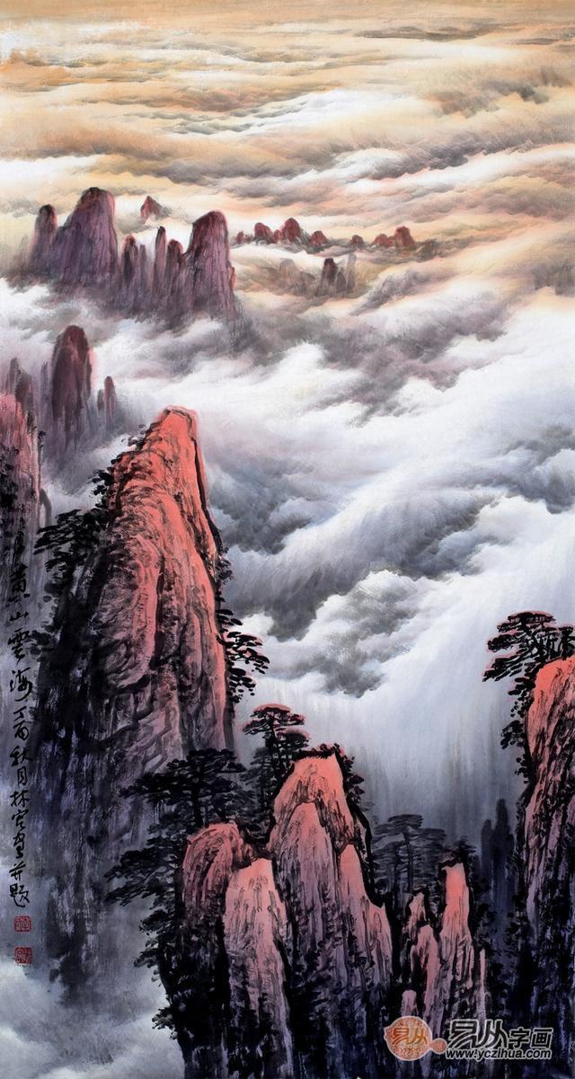 名家李林宏十三幅黄山系列山水画欣赏,云海翻涌吞天吐